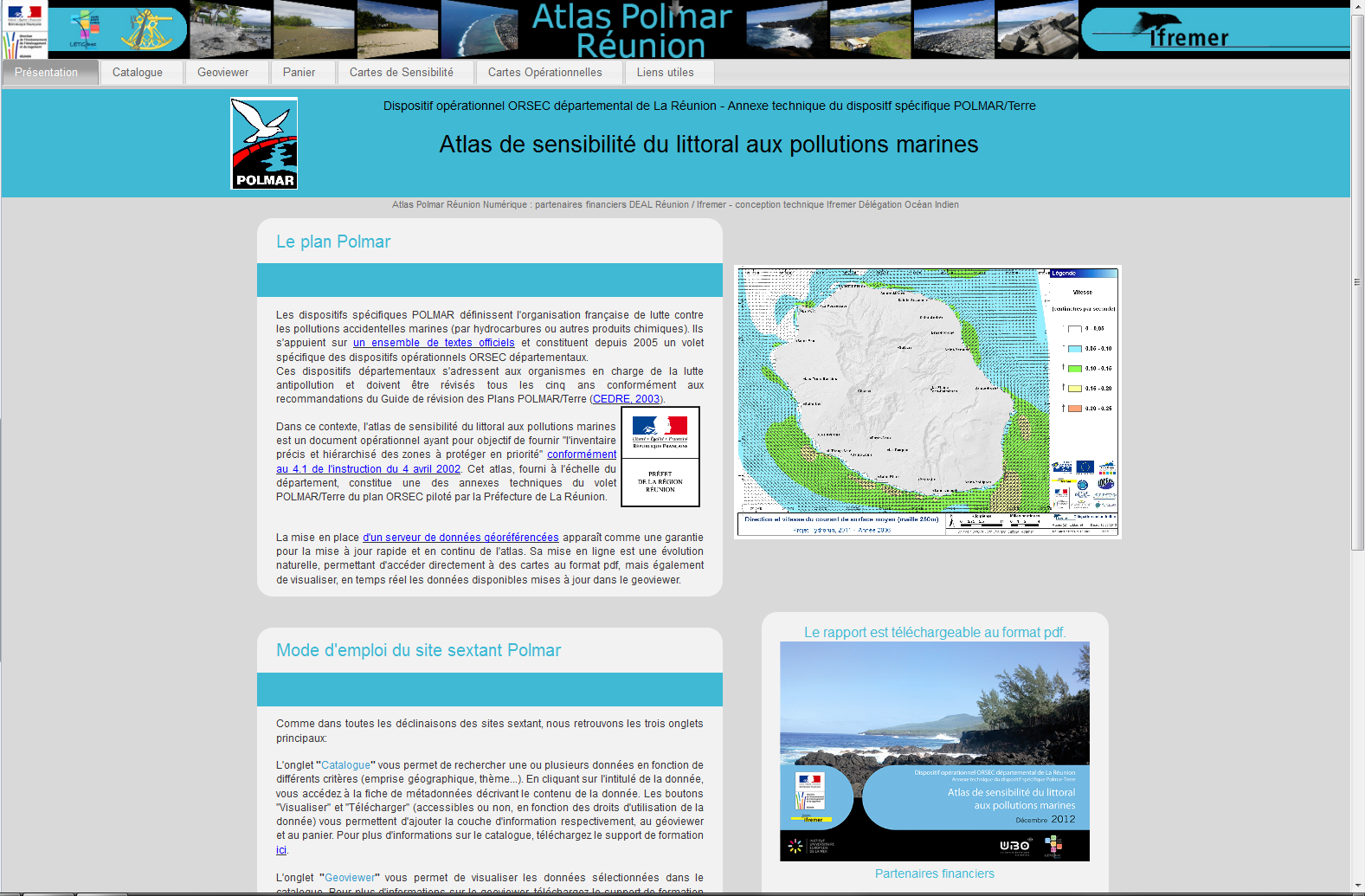 Atlas de sensibilité du littoral aux pollutions marines Polmar La Réunion